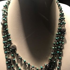 Jewelry - Turquoise and Crystal multi strand necklace